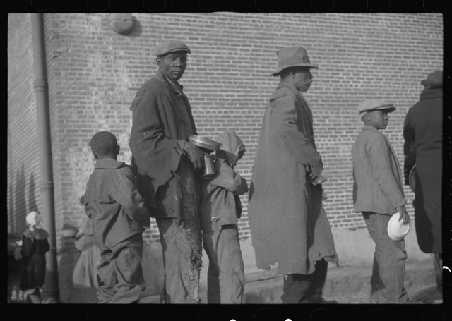 Negroes in the lineup for food at the flood refugee camp, Forrest City, Arkansas
