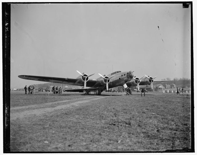 New Army Bomber arrives at Bolling Field. Washington, D.C., March 10. The new 4 engine Boeing bomber, the first of 13 which will be delivered to the U.S. Army Air Corps, as it landed at Bolling Field today after a short hop from Langley Field, Va., 3/10/1937