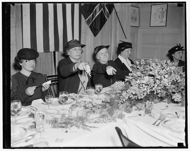New Minister to Norway is luncheon guest of Democratic Committeewomen. Washington, D.C., April 26. Democratic National Committeewomen from many of the states played hosts at a luncheon today in honor of Mrs. J. Borden Harriman, newly appointed U.S. Minister to Norway. Mrs. Harriman (left) is shown with Mrs. Carroll Miller, sister of Senator Guffey of P[...] and Committeewoman from the Keystone state. Mrs. Miller acted as Toastmistress for the affair which was held at the Democratic Women's Club, 4/26/1937