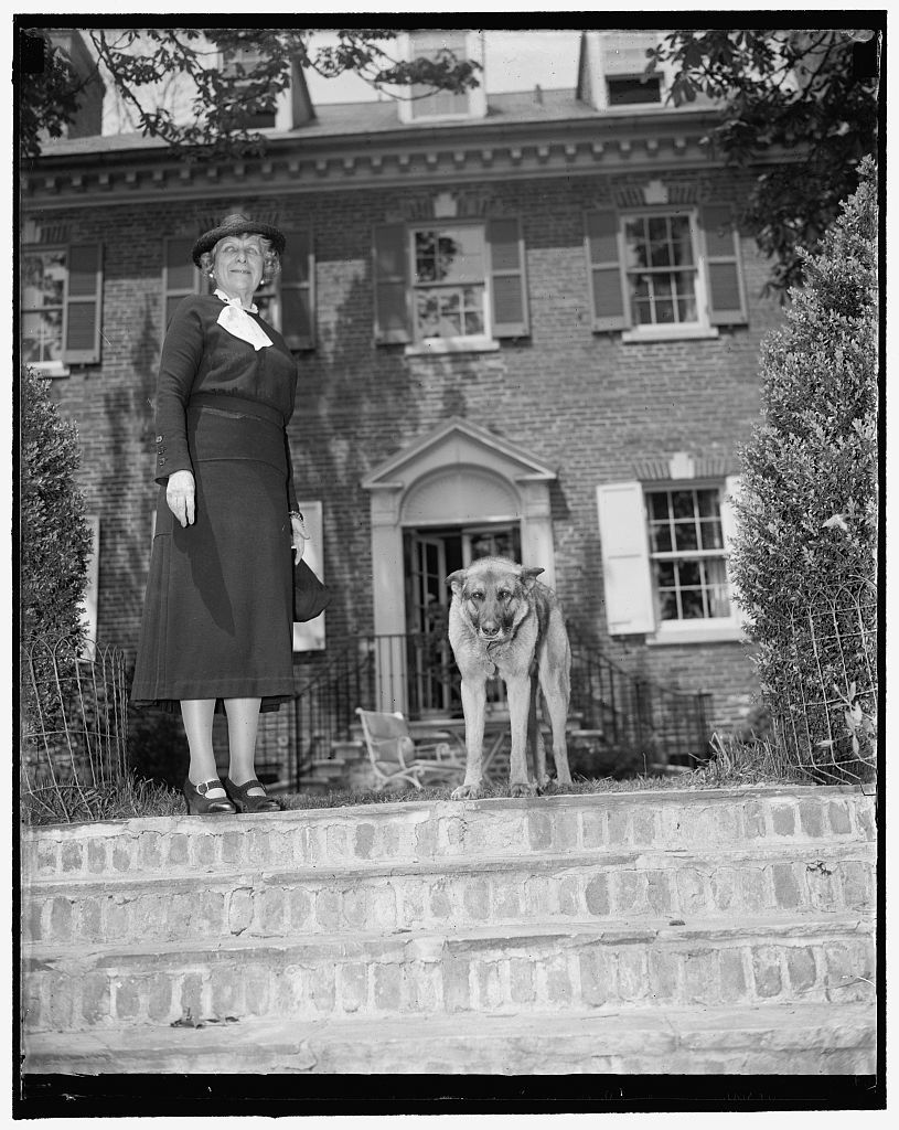 """New U.S. Envoy to Norway. Washington, D.C., April 23. Mrs. J. Borden Harriman, recently named American Minister to Norway by President Roosevelt, photographed at her home """"Uplands"""" in Washington today. Early confirmation of her nomination by the Senate is expected, 4/23/1937"""