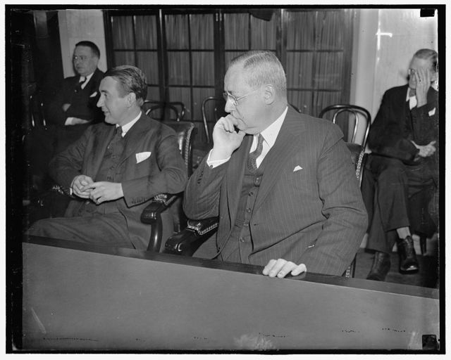 New York Stock Exchange Head at Senate hearing. Washington D.C., March 2. Charles R. Gay, President of the New York Stock Exchange, seems in a pensive mood as he listens to testimony during hearing of the Senate Railroad Financing Committee today. Gay is slated to be questioned by the Committee either late today or tomorrow, 3/2/1937
