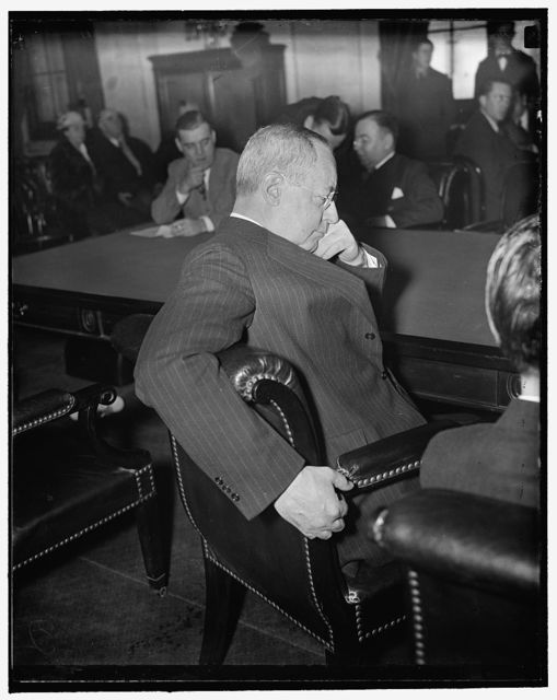 New York Stock Exchange Head at Senate hearing. Washington, D.C., March 2. Charles R. Gay, President of the New York Stock Exchange, seems in a pensive mood as he listens to testimony during hearing of the Senate Railroad Financing Committee today. Gay is slated to be questioned by the Committee either late today or tomorrow, 3/2/1937