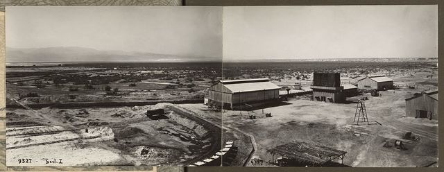 [Panorama in two sections taken from the Palestine Potash factory]