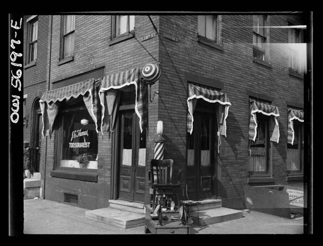 Philadelphia, Pennsylvania. Barber shop at 19th and Bainbridge Streets