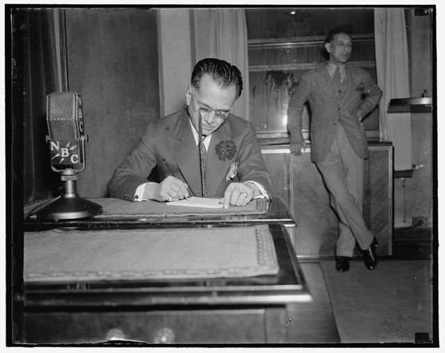 Philippine President broadcasts to home folks. Washington, D.C., April 5. President Manuel Quezon of Philippine Commonwealth broadcast from Washington today to his fellow-countrymen in Manila. For the 25 minutes he was on the air, President Quezon discussed woman suffrage and urged the 10-year independence program be limited to a shorter period, 4/5/1937