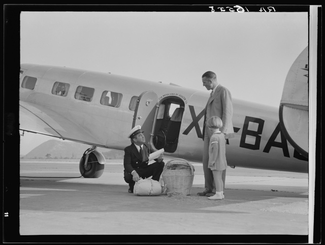 Plant quarantine inspector examining baggage brought into the United States by plane from Mexico. Glendale California