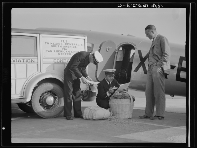 Plant quarantine inspectors examining baggage from Mexico for injurious insects. Glendale Airport, California
