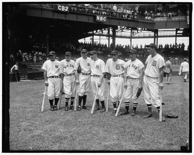 Plenty of basehits in these bats. Washington D.C., July 7. A million dollar base-ball flesh is represented in these sluggers of the two All- Star Teams which met in the 1937 game at Griffith Stadium today. Left to right: Lou Gehrig, Joe Cronin, Bill Dickey, Joe DiMaggio, Charley Gehringer, Jimmie Foxx, and Hank Greenberg, 7/7/37
