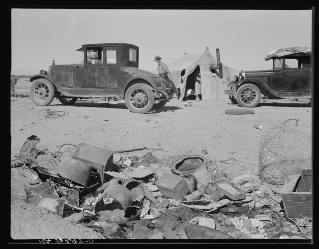 Refugee families encamped near Holtville, California