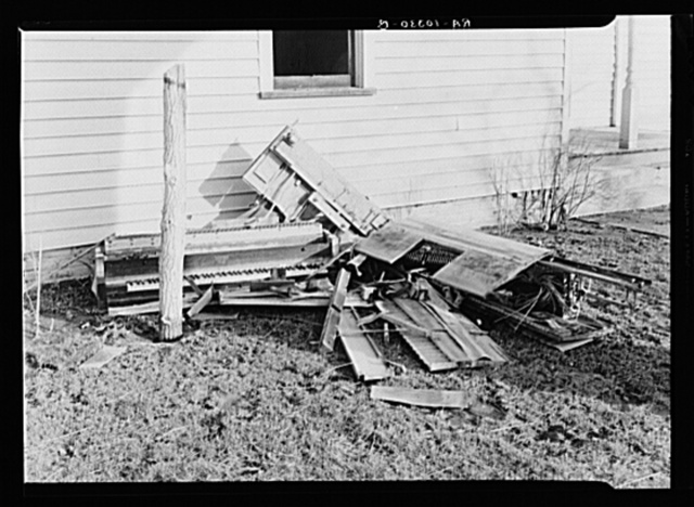 Remains of a player piano after the flood swept through a farm in Posey County, Indiana