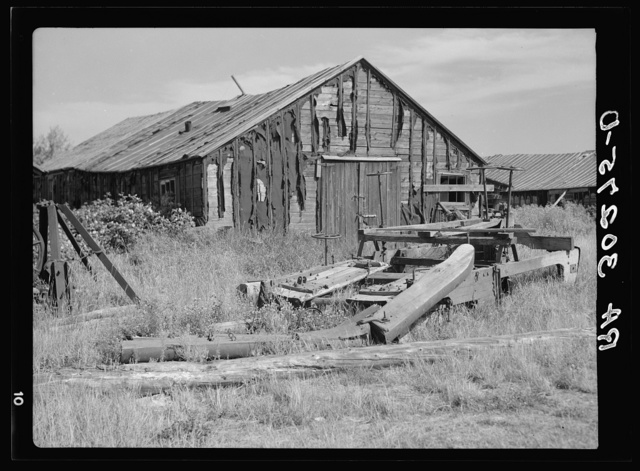 Remains of building in old lumber camp near Gemmel, Minnesota