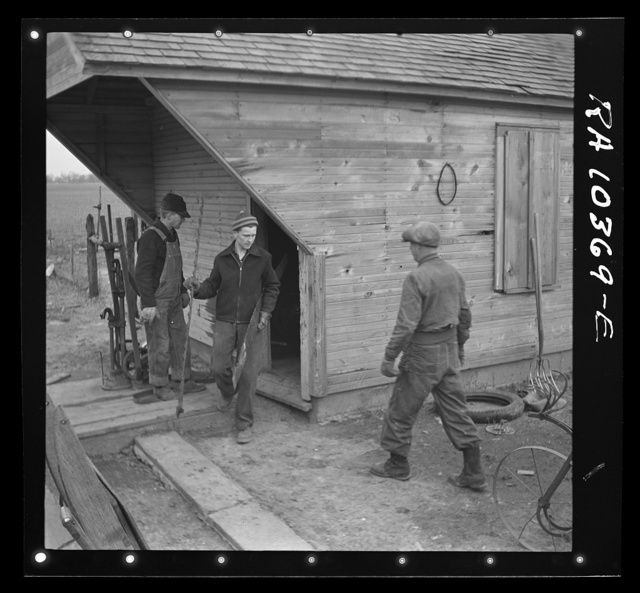 Removing tools from shed during moving operations of Everett Shoemaker, tenant farmer. Near Shadeland Indiana