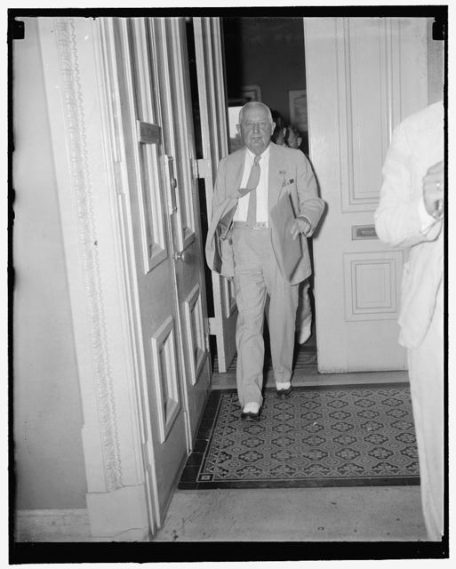 """Sale of Democratic convention handbooks """"disgraceful and demoralizing racketeering."""" Washington, D.C., Aug. 12. House minority leader Bertrand Snell, of New York, leaving the House Rules Committee today after telling members that sales of books on the Democratic National Convention to corporations was """"disgraceful and demoralizing political racketeering."""" Snell's request for a Congressional investigation of the sales was turned down by the Committee, 8/12/1937"""