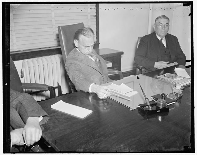 S.E.C. Chairman. Washington, D.C. April 13. A new informal snap of James M. Landis, Chairman of the Securities and Exhange Commission