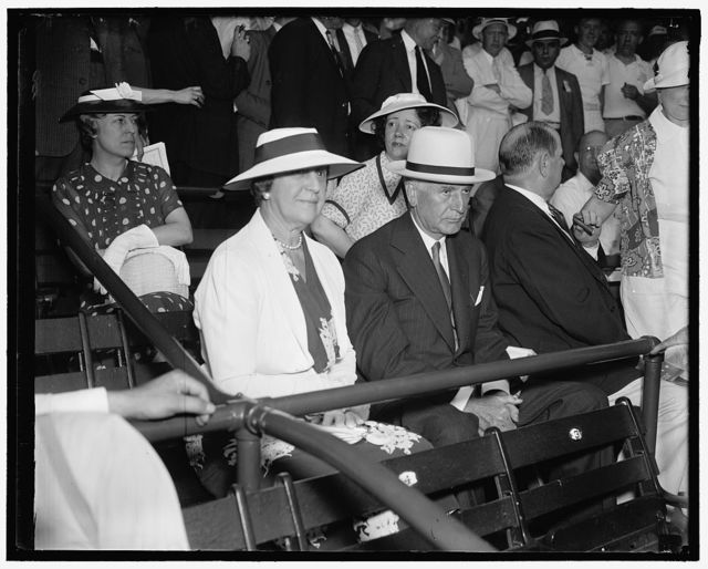Secretary of State views All-Star game. Washington D.C., July 7. Secretary of State with Mrs. Cordell Hull joined the thousands of other rabid baseball fans at Griffith Stadium today to witness the 1937 All-Star Game, 7/7/37