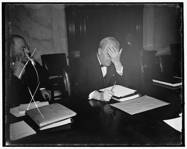 Senatorial headache. Washington, D.C., March 19. A veteran of many Senate investigations and hearings, Senator George W. Norris, of Nebraska, has discovered the present hearing on the President's Judiciary program just another headache. [...]askans was snapped as he attended today's session [...] Senate Judiciary Committee, 3/19/1937