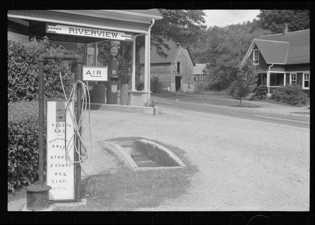 Service station, near Bridgewater, Vermont, riverview