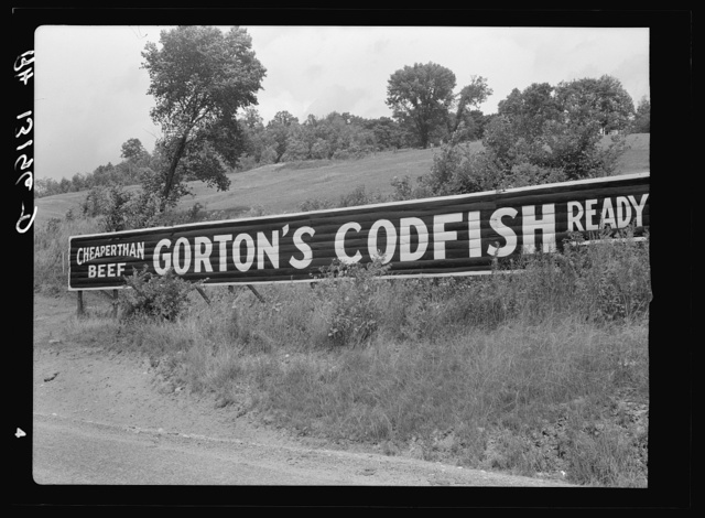 "Sign near Rutland, Vermont. ""Let them eat codfish"""