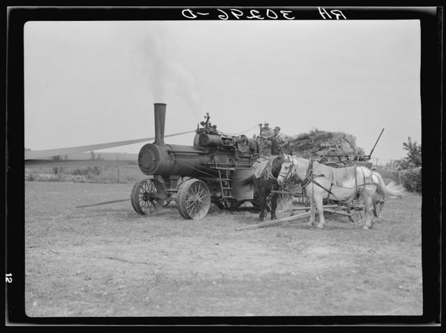Steam-operated threshing machine near Kewanee, Illinois