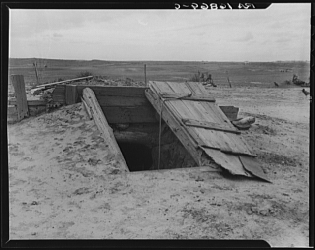 Storm cellar on the Texas plains. West Texas Panhandle