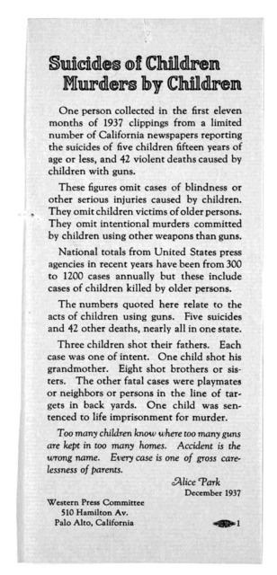 Suicide of children, murders by children, one person collected in the first eleven months of 1937 clippings from a limited number of California newspapers reporting suicides of five children fifteen years of age or less, and 42 violent deaths ca