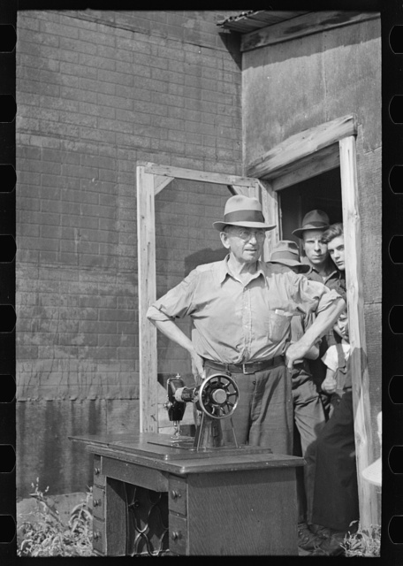 """S.W. Sparlin who sold his """"worldly possessions"""" at auction, Orth, Minnesota"""