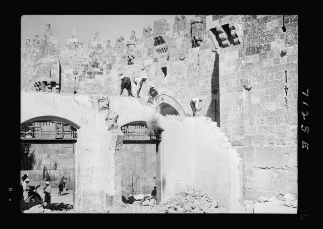 Tearing down shops in front of Damascus Gate (Sept. 1937)