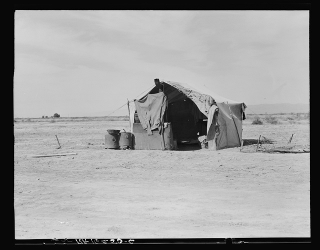 Tent housing a family of four who will be returned to Oklahoma by the Relief Administration. Imperial County, California