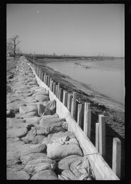 The Bessis Levee, along a subsidiary of the Mississippi River. The levee has been augmented with sand bags during the 1937 flood