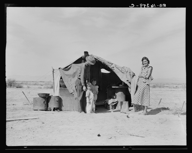 This family without food and work about to be returned to Oklahoma by the Relief Administration. They have lost a baby as a result of exposure during the winter. Had to sell their tent and car to buy food. Neideffer Camp, Holtville, Imperial Valley, California