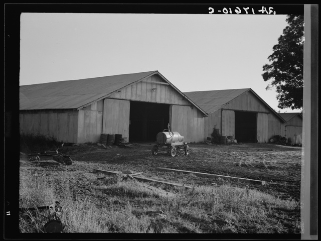 Tractor garage at the Aldridge Plantation near Leland, Mississippi