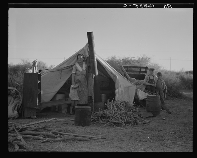 Unemployed family from the Rio Grande Valley, Texas, camped on a river bottom near Holtville, California