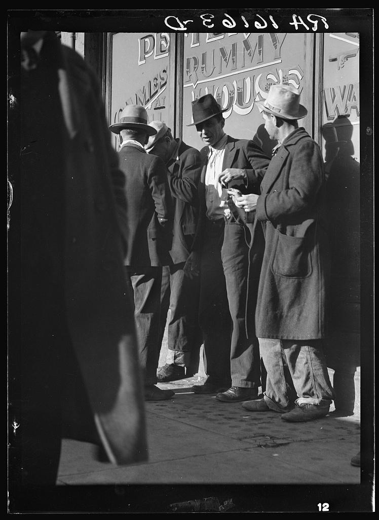 Unemployed men on Howard Street. San Francisco, California