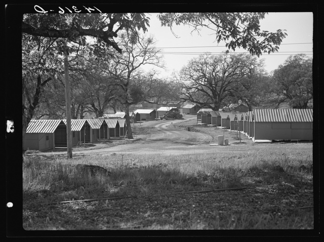 View of individual metal shelters, Sonoma, California. Migratory labor camp