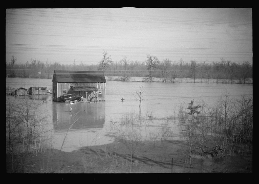 View taken from train en route to Forrest City, Arkansas from Memphis, Tennessee during the flood