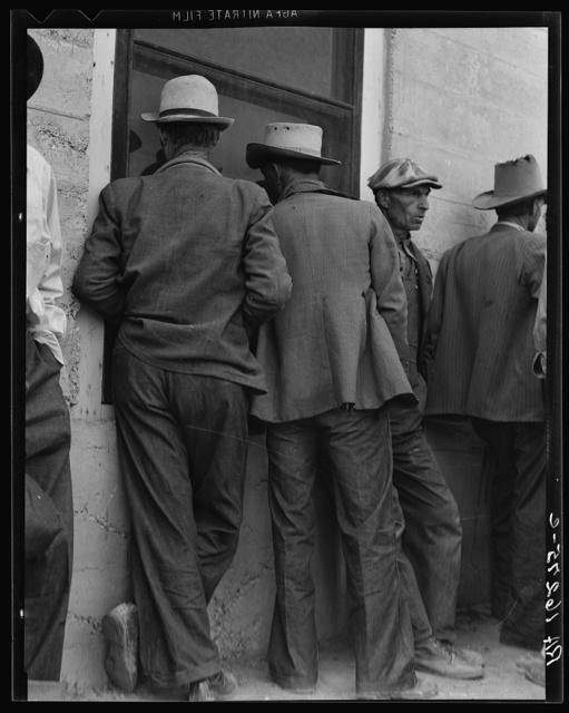 Waiting for the relief checks at Calipatria, California