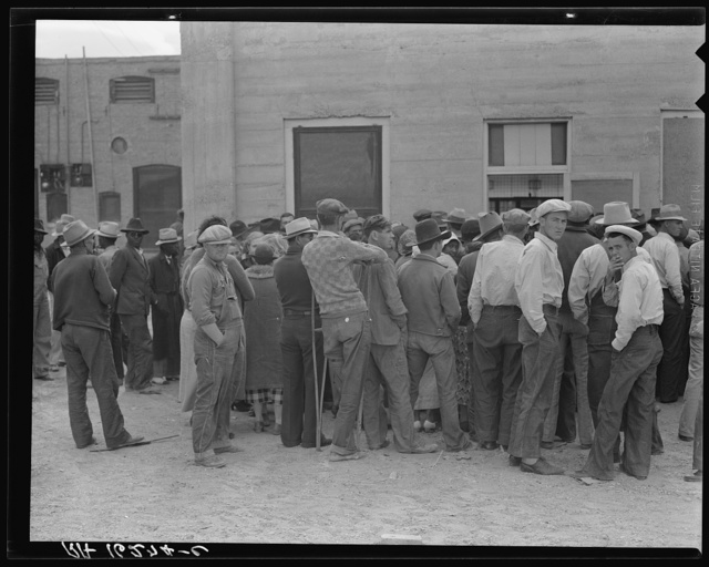 Waiting for the semi-monthly relief checks at Calipatria, California