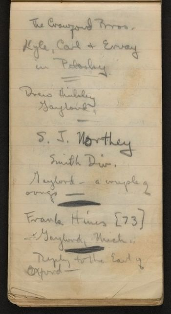 Alan Lomax Collection, Manuscripts, Michigan, Wisconsin, and Illinois, 1938 Aug-Nov