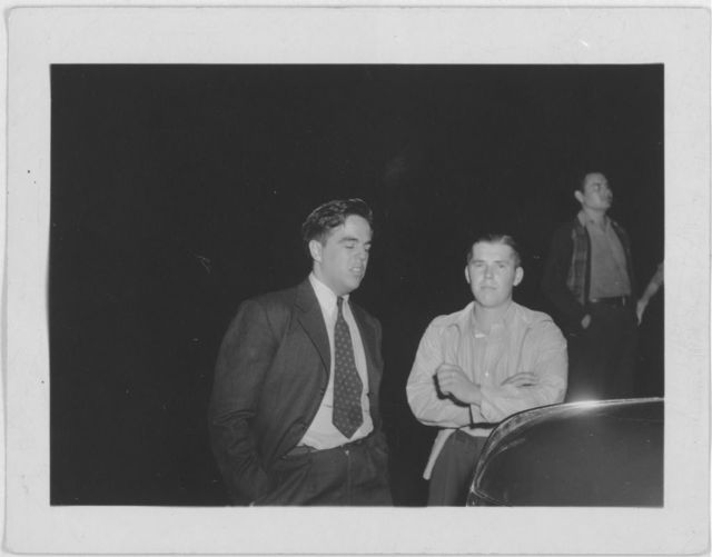 [Alan Lomax (left) with Richard Queen of Soco Junior Square Dance Team at the Mountain Music Festival, Asheville, North Carolina]