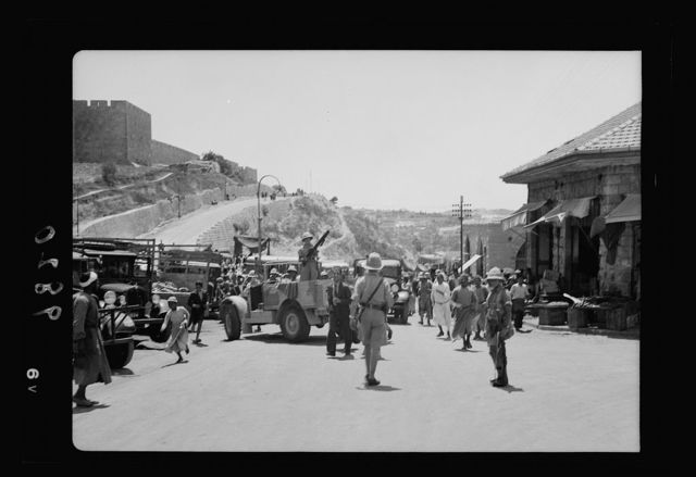 Aug. 26, day of big bomb in Jaffa. Military search for arms. Black Watch at Citadel with machine gun car, searching busses [i.e., buses] [Jerusalem]