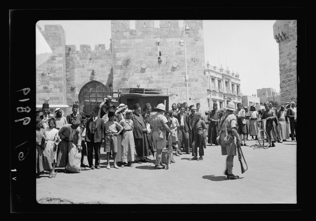 Aug. 26, day of big bomb in Jaffa. Military search for arms. Black Watch at Citadel, closer up [Jerusalem]