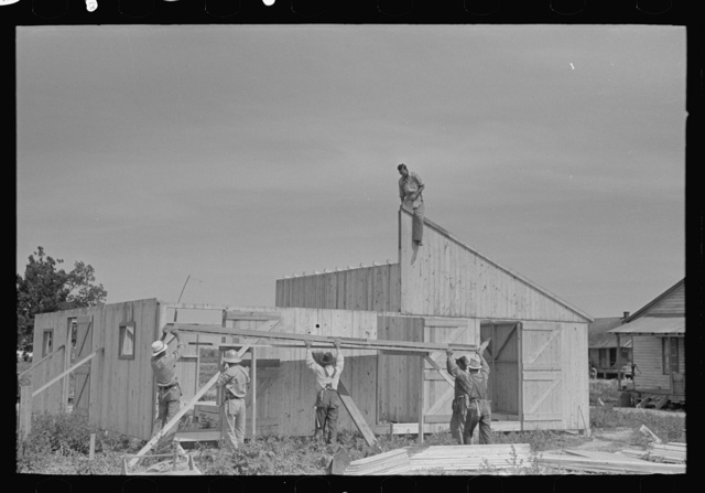 Barn erection. Gable end panels are placed one-half at a time due to weight and length. Southeast Missouri Farms Project