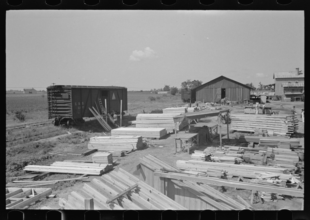 Barn plant. General view of layout of precutting plant, showing movement of material from left to right. Southeast Missouri Farms Project