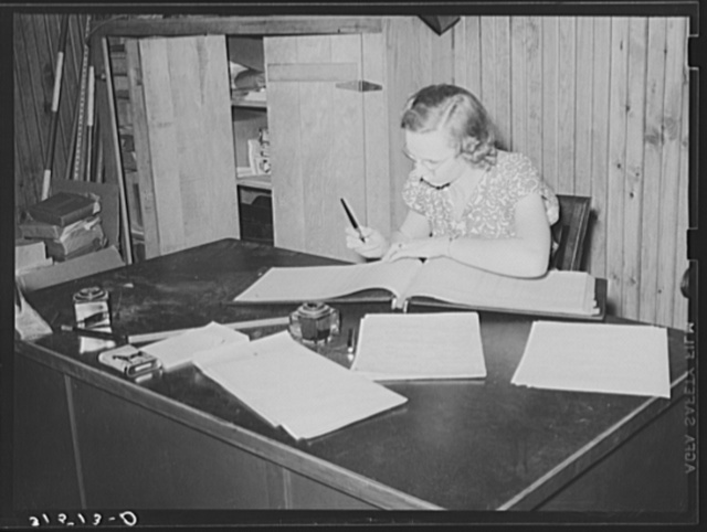 Bookkeeper, Lake Dick cooperative association. Lake Dick Project, Arkansas