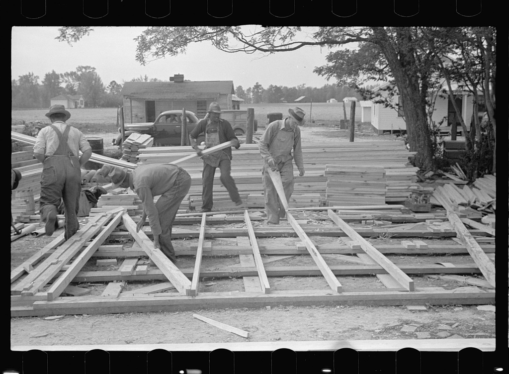 Building wall of prefabricated house, Roanoke Farms, North Carolina