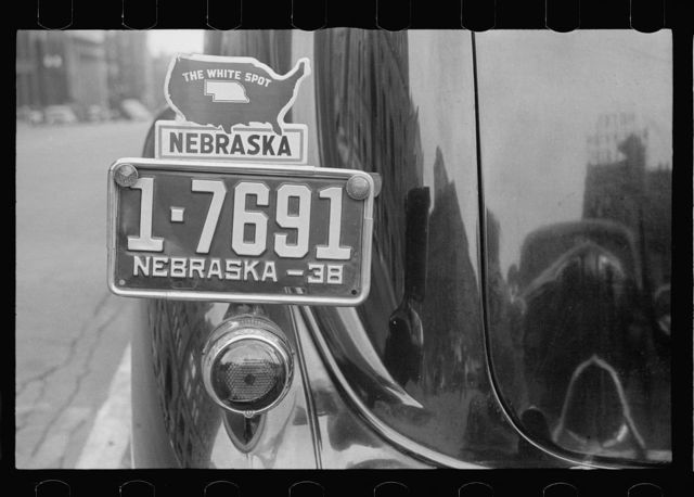 "Car belonging to ""white spot"" enthusiast: ""Nebraska the white spot of the nation, no luxury tax, no bonded debt, highways all paid for,"" etc."