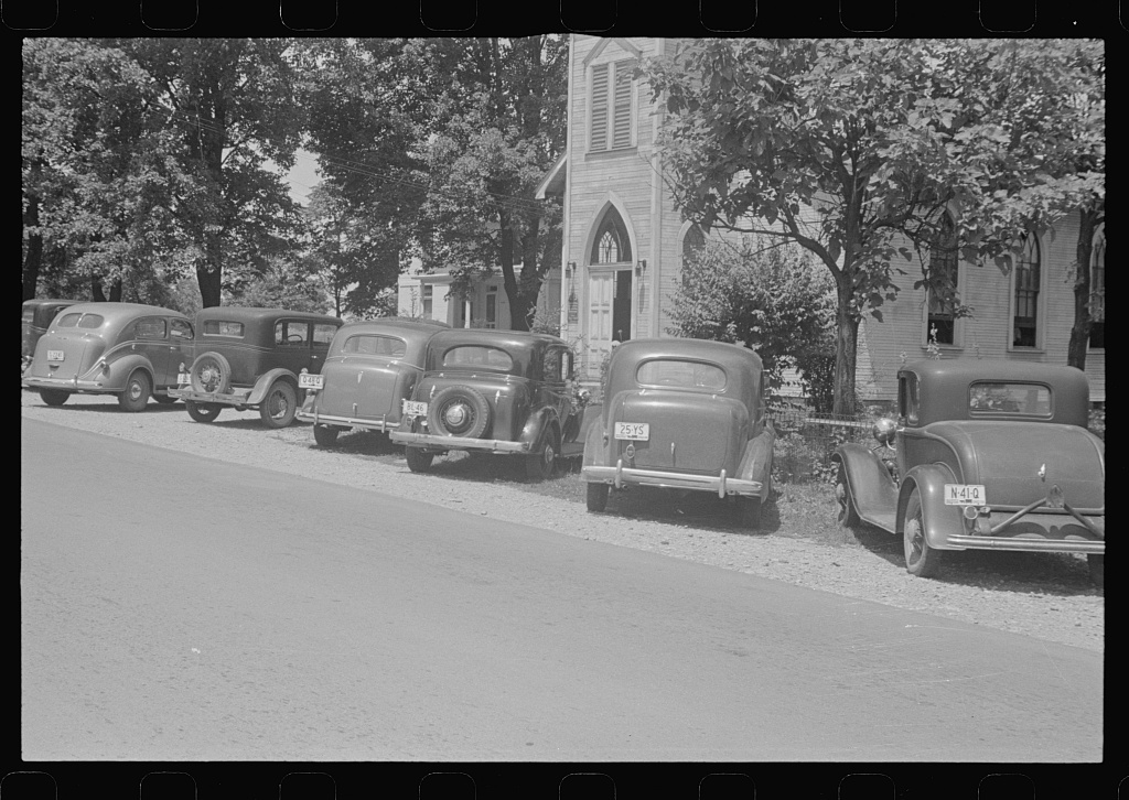 Cars parked outside church, Linworth, Ohio