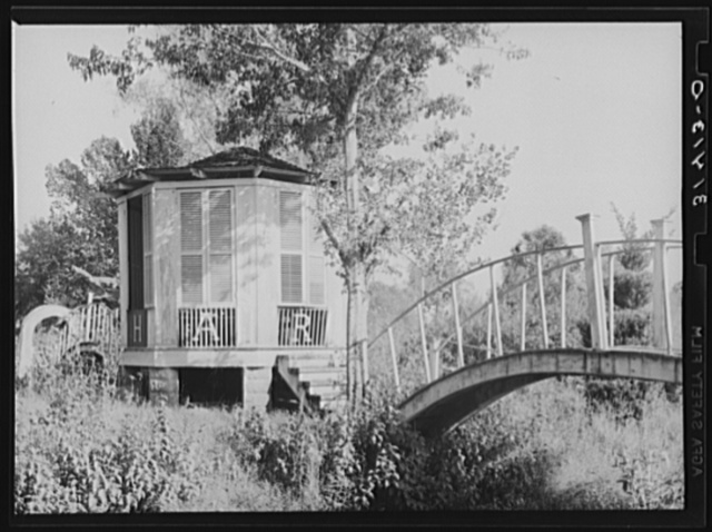 Chapel and shrine on small island in Bayou Teche near Adeline, Louisiana