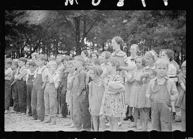 Children at flag raising. Irwinville School, Georgia