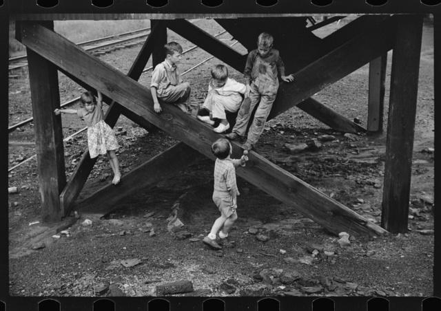 Children's favorite playground, around coal mine tipples. Pursglove, Scotts Run, West Virginia